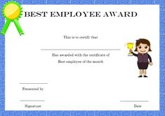 employee award certificate template free templates design the month