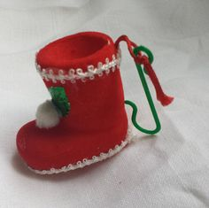Vintage Christmas tree decoration Santa boot by Prettyvintagehouse