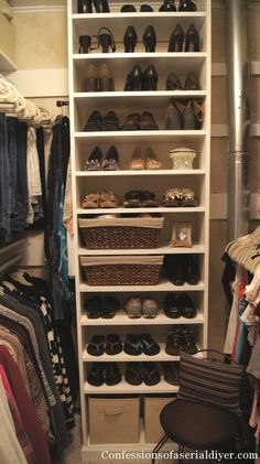 small walk-in closet-i think this is the closest to what i kinda want. Replace the shoes with shirts and hoodies.  I like our shoes in the garage.  Just want space for tshirts and hoodies and out of season clothes at the top.