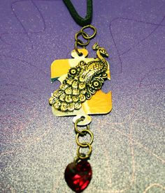 Pretty Peacock Puzzle Piece Necklace by GrayStormCreations on Etsy, $12.00