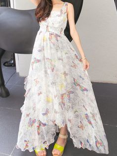 Butterfly Print Stylish V-Neck Sleeveless Elastic Waist Chiffon Maxi Dress