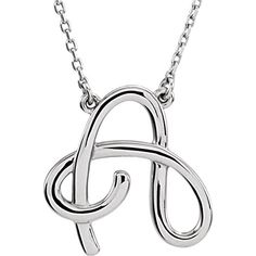 84635 / Necklace / Sterling Silver / Initial A / NONE / Script Initial 16 Inch Necklace Alphabet Necklace, Initial Pendant Necklace, Name Necklace, Initial Necklaces, Initial Earrings, Metal Necklaces, Silver Necklaces, Sterling Silver Jewelry, Script