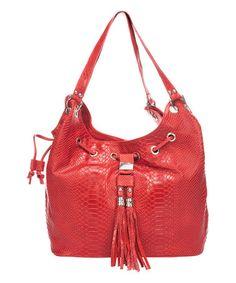 Red Tassel Leather Bucket Bag on #zulily! #zulilyfinds