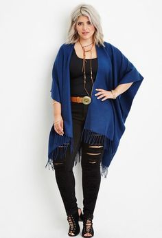 Plus Size Fringed Shawl