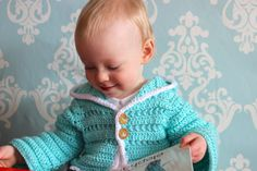 Hooded Sweater Cardigan Jacket in Robins Egg Blue, 12-18 Months, #PantoneSpring2015 by TheLilliePad