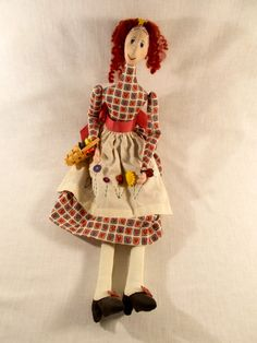 Handmade Cloth Sewing Doll by TabletopTreasure on Etsy