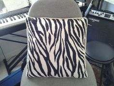 "2014  Zebra print pillow inspired by film, ""Life of Pi.""  A farewell gift."
