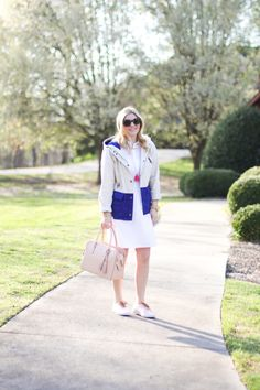 GlamGrace - By Tabby Spring outfit, white dress with pale pink Tory burch handbag.