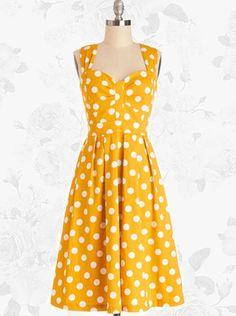 Yellow Retro Polka Dot 50s Style Vintage Rockabilly Swing Party Dress