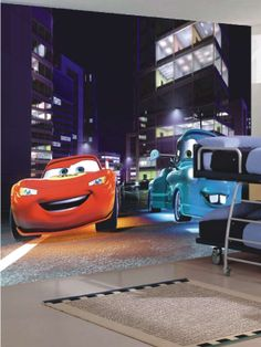 Disney Cars Midnight Racers Large Digital Print Wall Mural - you can get some really great wall murals for kids rooms.