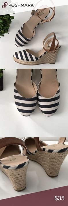 "✨NEW✨ Navy Striped Ankle Strap Espadrilles Never worn! These are so cute with the stripes and leather ankle strap. Heel height: 3"" Any questions, please ask before purchasing. Basic Editions Shoes Espadrilles"