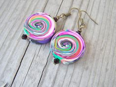 Artisan Polymer Clay Earrings Rainbow Swirls by gristmilldesigns, $16.95