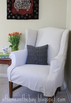 Wing Chair Slipcover - At Home on the Bay Made with Finish Factor Drop Cloth