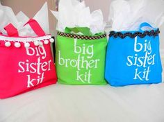 "it is so important to make sure that Big Sisters and Brothers are included. These gifts bags would be great filled with a book for them to read to their sibling, a ""Big Brother/Sister"" T Shirt and a special gift just for them! From: Ducksinarowblog.com"
