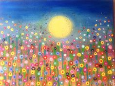 Meadow or Field of Summer Flowers-  Original 12x16 Acrylic painting on canvas By JP Morris. Bright, cheerful and colorful original.