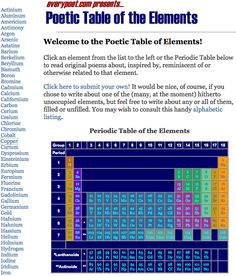 Poetic Table of The Elements