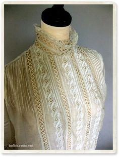 19-го века в викторианском блузка - [Белл Lurette] Европа Франция античный кружева белье одежда почте