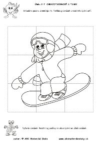 Zimné športy - Poskladaj obrázok - puzzle - pracovný list z ABC Adult Coloring Pages, Coloring Sheets, Coloring Books, Winter Christmas, Christmas Crafts, Flip Flop Wreaths, Sport Craft, Drawing Lessons, Winter Sports