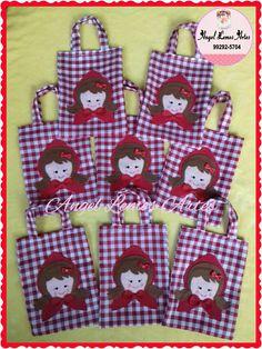 Sacolinhas Surpresas de tecido para lembranças de aniversário -Tema Chapéuzinho Vermelho!