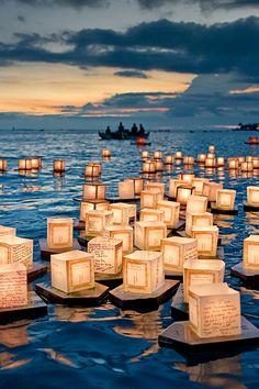 Floating Lanterns. Memorial at Ala Moana Park in Honolulu, Hawaii by Dwight K. Morita.