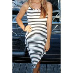 Stripe Print Irregular Hem Dress