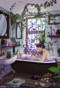 "brenna-ivy: "" To celebrate the start of 2017, I give you the Modern Male Witch Bathroom! I've been casually working on this for weeks and I finally finished the animation today. This is an older..."