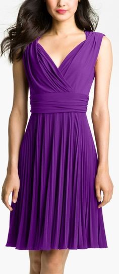 Purple Pleated Dress-love the color AND style