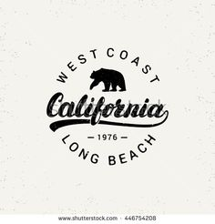 California stock vector image, letters written to 446754208 - California hand written lettering with bear. Web Design, Logo Design, California Logo, Voyage Usa, Surf Logo, Logo Vintage, Vintage Surf, Handwritten Letters, Badge Design