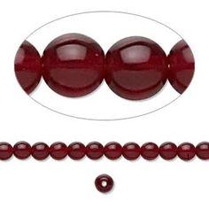Bead, Preciosa® Czech pressed glass druk, garnet red, 4mm round. Sold per 16-inch strand. - Fire Mountain Gems and Beads
