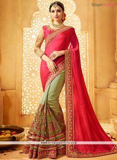 25302e9cec75cd Phenomenal Green and Hot Pink Embroidered Work Art Silk Half N Half Saree  Red Saree,