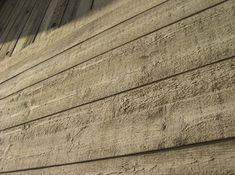 wood-pressed concrete walls