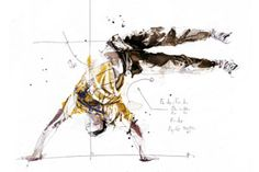 Florian Nicolle's series 'Break Dance - Volnorez' applies a geometric lens to the movements of break dancers, tracking angles, tangents and mathematical formulas to annotate the gravity-defying maneuvers. Nicolle's gestural splashes of watercolor and splatters of ink add dynamism and spontaneity, bringing his subjects' poses to life. He is based in Caen, France.