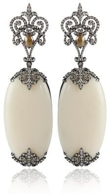 """Bochic Ivory and Diamond 18K White Gold Earrings  The Ivory really stands out on these Bochic Ivory and Diamond Earrings. 5.778 CT  3"""" Drop"""