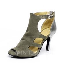 Women's Leatherette Suede Heels Sandals Latin With Buckle Dance Shoes (053065476)