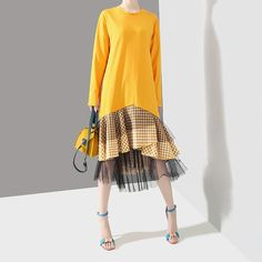 O-Neck Long Sleeve Streetwear Women Dresses New Solid Color Patchwork Plaid Ruffles Loose Dress Yellow Women's Summer Fashion, Modest Fashion, Women's Fashion, Dress Robes, Sweatshirt Dress, Edgy Outfits, Yellow Dress, New Dress, Blouses For Women