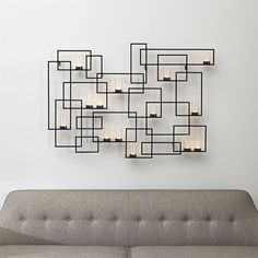 Crate & Barrel Circuit Metal Wall Candle Holder (230 NZD) ❤ liked on Polyvore featuring home, home decor, candles & candleholders, wall candle holders, geometric home decor, wall art frame, home wall decor and geometric candle holder