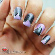 Chevron Nail Art |  Uñas decoradas estilo Chevron con cinta para nail art