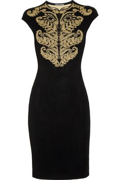 Alexander McQueen Stretch-Crepe Intarsia Dress $1395
