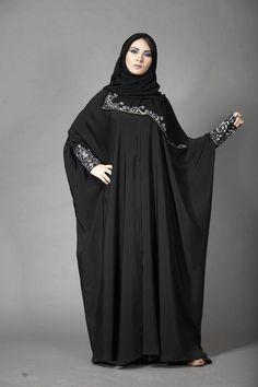 Black Abaya with Embroidery Sleeve Modern Trend – Girls Hijab Style & Hijab Fashion Ideas Abaya Style, Caftan Dress, Hijab Dress, Islamic Fashion, Muslim Fashion, Black Abaya, Mode Abaya, Abaya Designs, Muslim Dress