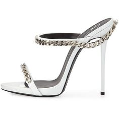 Giuseppe Zanotti Chain-Link Leather Sandal (12 085 UAH) ❤ liked on Polyvore featuring shoes, sandals, white strappy sandals, strappy sandals, white sandals, white platform sandals and high heel sandals #giuseppezanottiheelswhite #platformsandalsheels