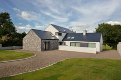 typology - residential project - one off dwelling size - 234 sqm completed 2017 Modern Bungalow House, Bungalow Interiors, Rural House, Bungalow House Plans, Modern House Plans, Facade House, House Roof, Courtyard House, House Designs Ireland