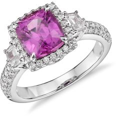 Blue Nile Cushion Cut Pink Sapphire with Diamond Halo Ring (16,845 CAD) ❤ liked on Polyvore featuring jewelry, rings, pink sapphire jewelry, 18k ring, halo diamond ring, cushion cut ring and 18 karat gold ring