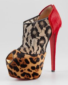 Christian Louboutin Aeronotoc Calf Hair & Lace Red Sole Bootie - Neiman Marcus
