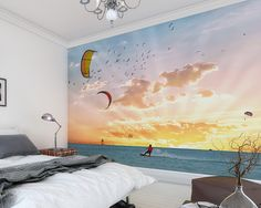 Serene and beautiful, a wind surfer glides across the glossy ocean in this pleasing mural. With a pastel sunset and a charming flock of seagulls, this mural will have you dreaming for a vacation. Wind Surfer Wall Mural comes on 6 panels.