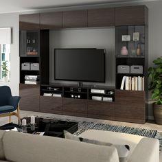 BESTÅ TV storage combination/glass doors - black-brown, Selsviken high gloss/brown clear glass - IKEA Tv Cabinet Design, Tv Unit Design, Tv Wall Design, Modern Tv Cabinet, Modern Tv Wall Units, Besta Tv Bank, Tv Bench, Living Room Tv Unit, Frame Shelf
