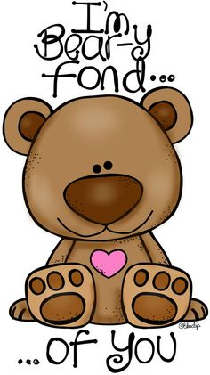 Beary Fond of You! This Clip-Art can be used as a stencil for wafer paper transfers, butter cream transfers, fondant cut outs, painting on to cakes etc and many uses for cupcakes and cookies too. Cliparts Free, Cute Clipart, Tatty Teddy, Cute Bears, Paper Piecing, Cute Drawings, Rock Art, Painted Rocks, Cute Pictures