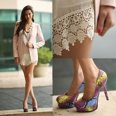 Chic lace shorts, light shirt, jacket, heels