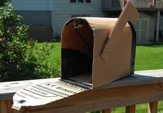 FUN MAILBOX MADE FROM OLD CARDBOARD BOXES - REDUCE REUSE RECYCLE. Found on Bob Villa