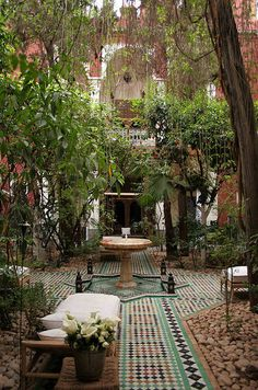 Menara, Marrakech, MA, Riad Kaiss Courtyard and garden. One of my all time favorite hotels! Outdoor Rooms, Outdoor Gardens, Outdoor Living, Outdoor Decor, Outdoor Tiles, Outdoor Patios, Outdoor Kitchens, Dream Garden, Home And Garden