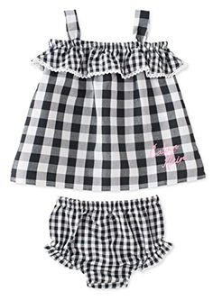 Calvin Klein Baby Girls 2 Piece Top  Diaper Cover Set BlackWhite Gingham 12 Months ** Check out this great product.